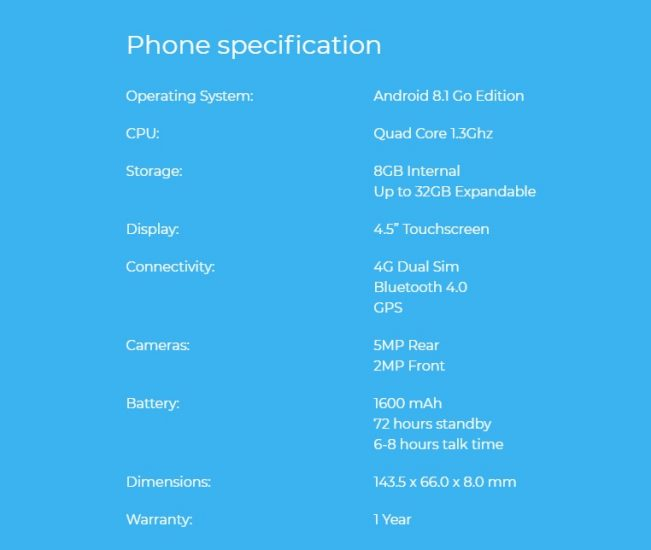 Electroneum M1 Specification