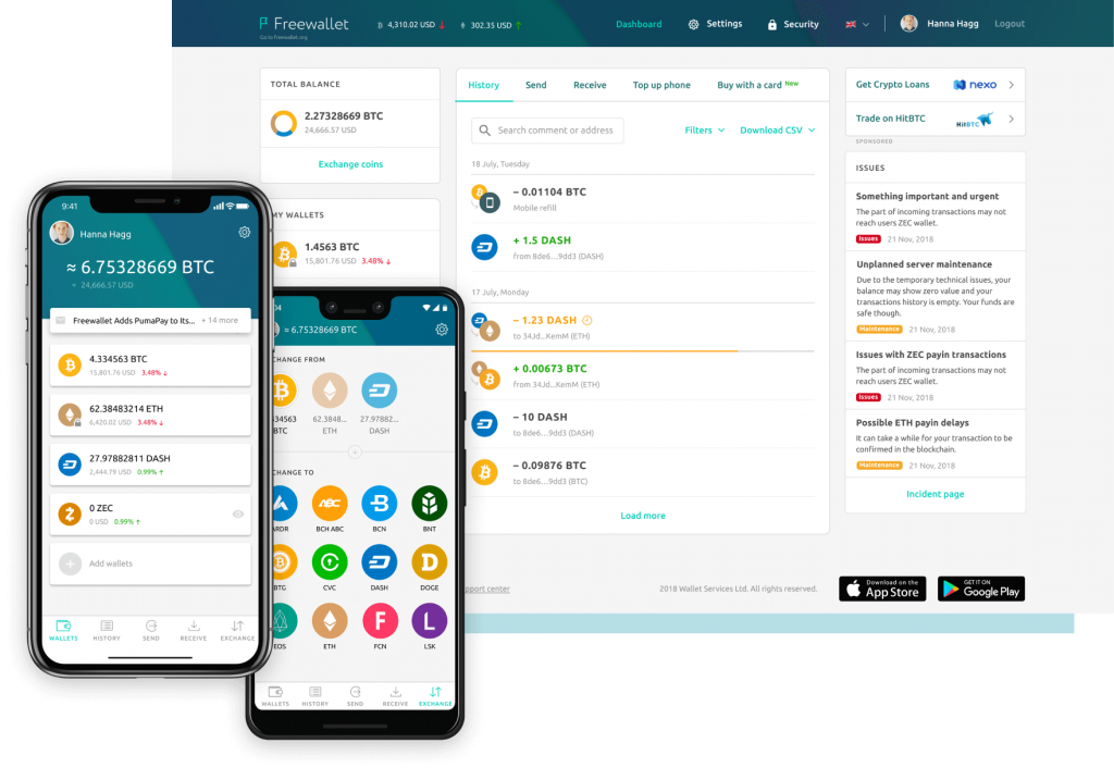 free wallet - Multi cryptocurrency wallet