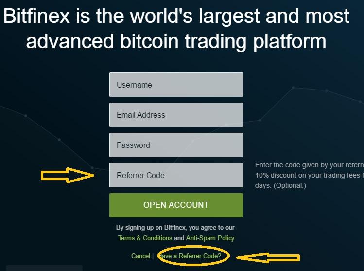 sign up to bitfinex