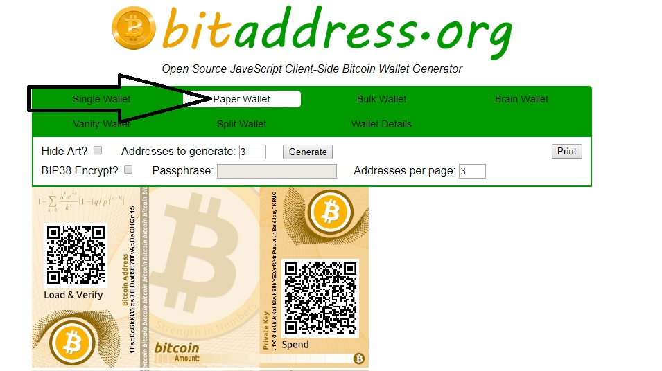 steps to make paper wallet bitcoin