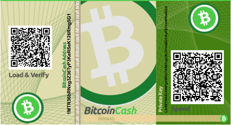Bitcoin Cash Paper Wallet