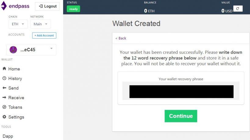 Endpass wallet